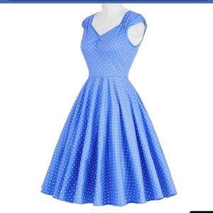 Dresses & Skirts - Retro blue and white polka dotted dress